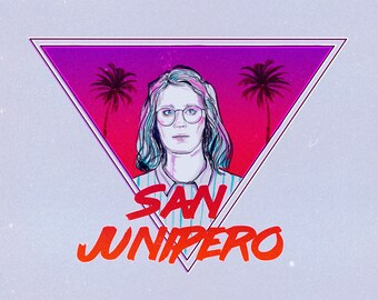 Postcard Retro eighties Black Mirror, San Junipero, Yorkie