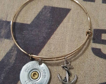Expandable bangle with 12 gauge shotgun shell and anchor charm