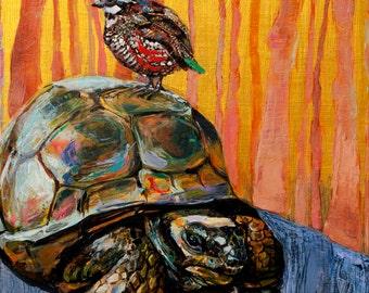 Tortoise and Bobwhite. Giclee Print. 8x10, 11x14.