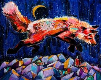 Fox in Flight. Giclee Print. 8x10, 11x14