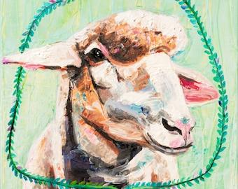 Mint Sheep. Giclee Print. 8x8