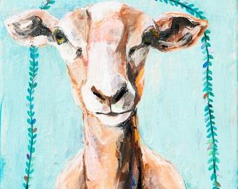 Aqua Sheep. Giclee Print. 8x8.