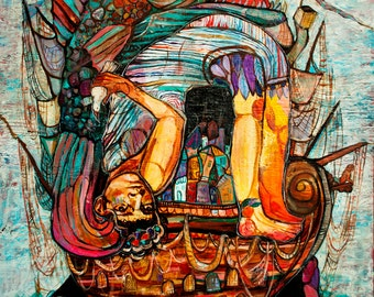 Sea Shanty. Giclee Print. 8x10, 11x14. (abstract colorful figure and ship)