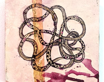 """Ouroboros Knot. Mixed media drawing on panel. 5x5"""""""
