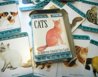 Vintage Cards for Cat Lovers, Deck of Cards of Cats, Learning Cards, Quiz Cards, Knowledge Cards, 36 Different Cat Cards, Fact Card Box Set