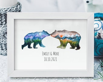 Bear Couple Print   Personalized wedding gift   Unique Wedding Gift   Wedding gift for couple   Anniversary gift   Engagement Gift