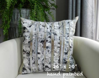 Hand painted pillow, hand painted cushion, Birch tree pillow, Aspen Trees, decorative throw pillow, accent pillow, birch trees, sofa pillow