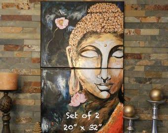 Buddha painting,Buddha wall art, Buddha art, Buddha gifts, yoga studio decor, Gold Buddha, buddha decal, Buddha and Lotus, Buddha canvas