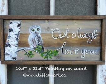 Owl gifts, Owl decor, Owl always love you, Owl painting, Owl art, Owl decal, Owl decoration, Owl wall art, Owl wall decal, Owl wall decor