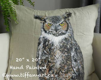 Owl pillow | Owl gifts | Owl painting | Owl lover gift | Wildlife cushion | Owl decor | Hand painted pillow | hand painted cushion | Owl art