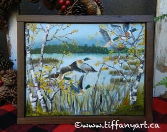Mallard Duck Oil Painting, Mallard duck painting, original painting, oil painting, landscape oil painting, Mallard Duck Art, bird painting