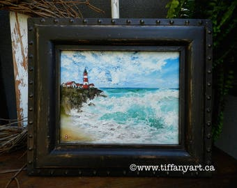Lighthouse painting, Ocean painting,Beach decor, Beach painting, Ocean art, Seascape painting, Seaside art, Framed art,Original oil painting