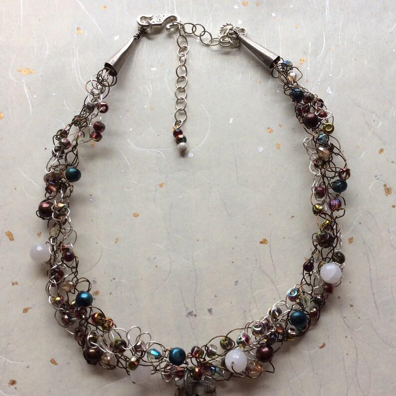 Cherry Creek Red Creek Jasper pendant on wire crochet necklace