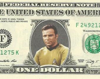 Captain Kirk (Star Trek) {Color} Dollar Bill - REAL Money!