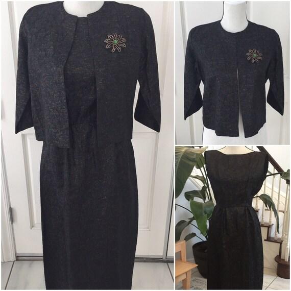 Vintage 1950 Long Black Dress with Short Jacket  M