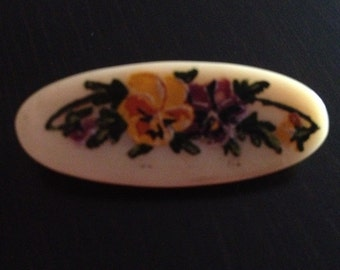 Victorian Brooch Handpainted Flowers