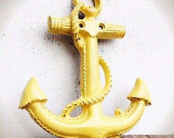 BOLD golden summer squash yellow NAUTICAL anchor wall hanging // coastal beach house decor // SHABBY cottage chic // cast iron