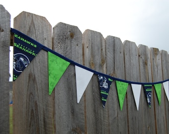 Seattle Seahawks fabric banner Football party bunting Tailgate decoration