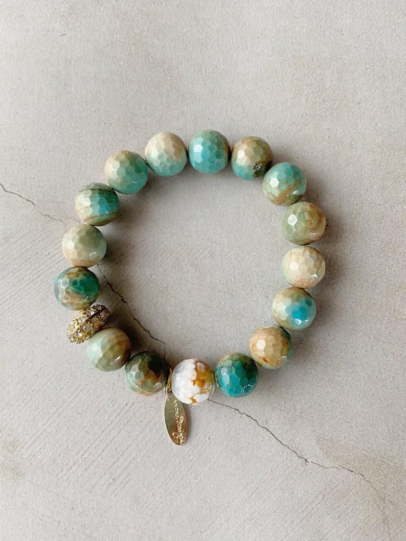 Multi Color Faceted Agate Bead Bracelets