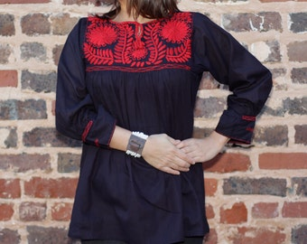 Hand Embroidered Mago Navy Blue Blouse