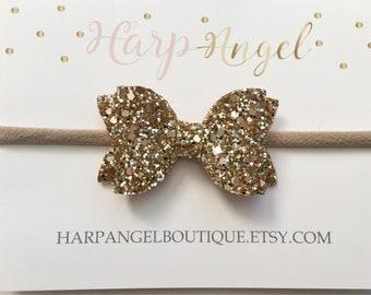 c504105896d7 Gold Glitter Bow Headband or Hair Clip ~ 3 Sizes ~ Newborn   Baby   Toddler  Girls   Adult