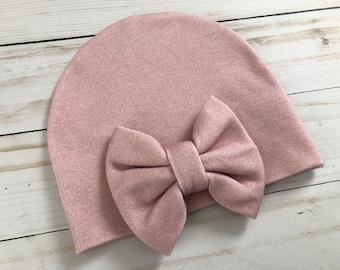 b32b0df7dae Baby Girl Organic Mauve Pink Dusty Pink Newborn Bow Hospital Hat Beanie    Baby Bow Hat   Blush Pink Hat Dusty Rose