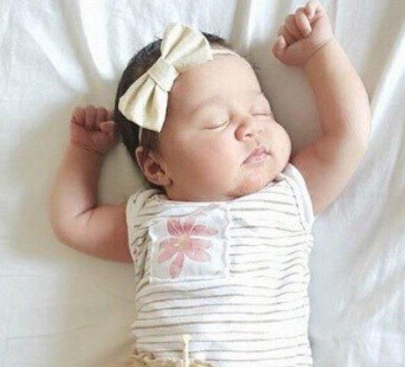 Cream /& Gold Shimmer Fabric Hair Bow Nylon One Size Headband or Clip Newborn  Baby  Toddler  Girls Bow