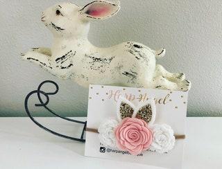 Easter Bunny Ears Pink Felt Rose Flower Headband Gold Ears or Hair Clip Newborn  Baby  Toddler  Girls Headband Easter Headband