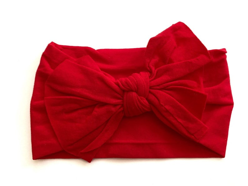 baby Head Wrap red headband red top knot headband Red Nylon Knotted Bow Headband baby headband red head wrap