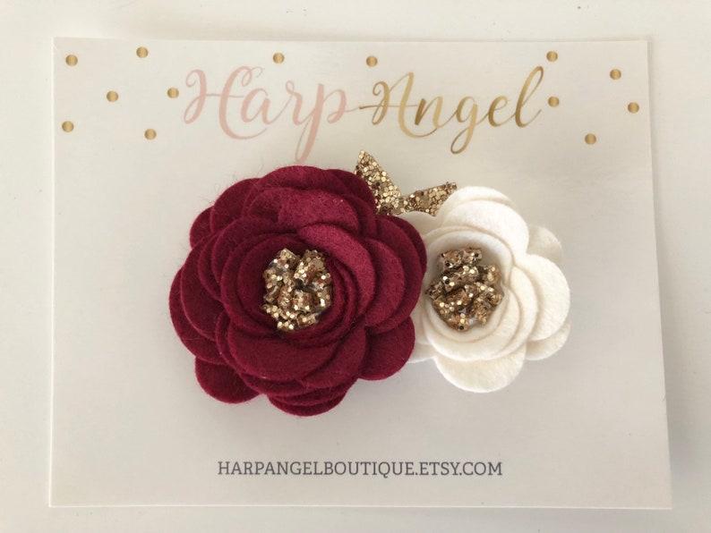 Maroon Ivory /& Gold or Silver Wool Felt Flower Crown Newborn  Baby  Girls  Adult Holiday Headband