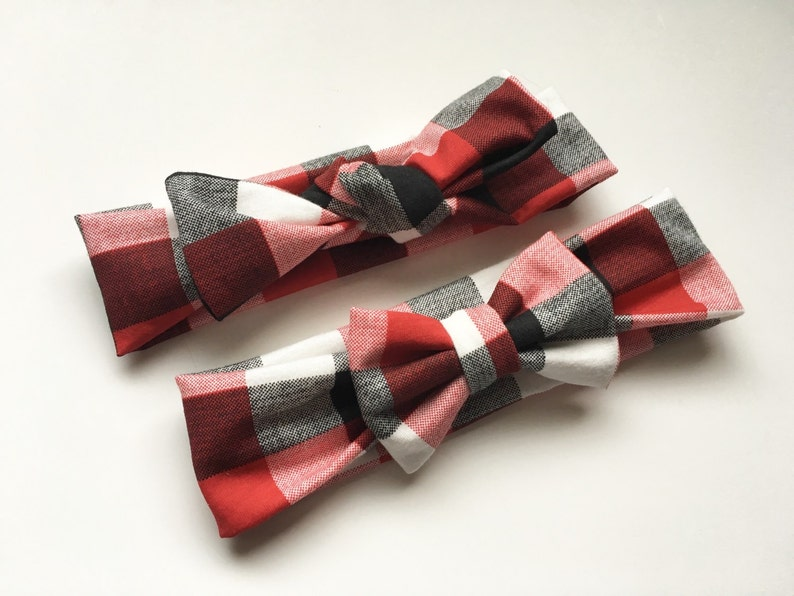 Buffalo Plaid Red Black White Stretch Knit Hair Bow or Knotted Top Knot Headband Head Wrap Newborn  Baby  Girls  Adult