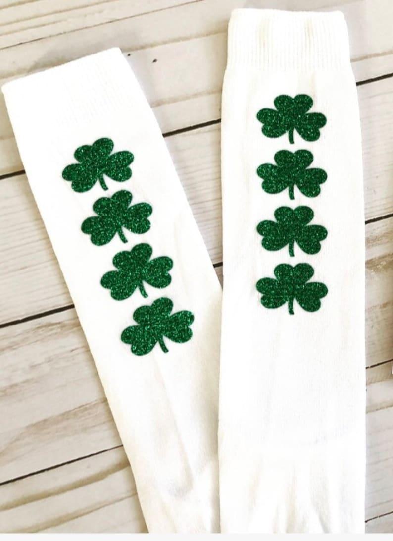 8822591b859 Shamrock Green Glitter White Nylon Knee High Socks Baby