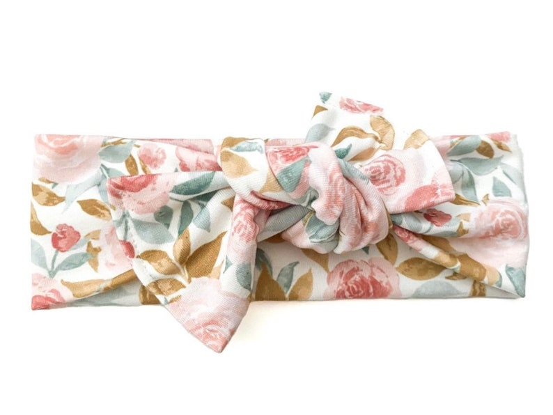 Watercolor Pink /& Blue Floral Top Knot Knotted Bow Stretch Knit Head Wrap baby bow tie on head wrap baby head wrap