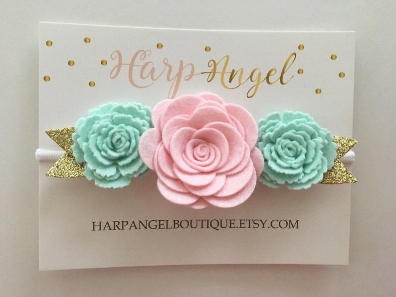 Pink & Mint Gold 100% Wool Felt Rose Flower Crown Headband image 0