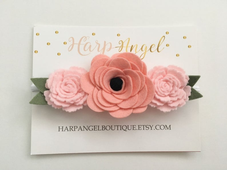 Peach Rose /& Pink Wool Felt Flower Crown Headband Newborn  Baby  Toddler  Girls  Adult