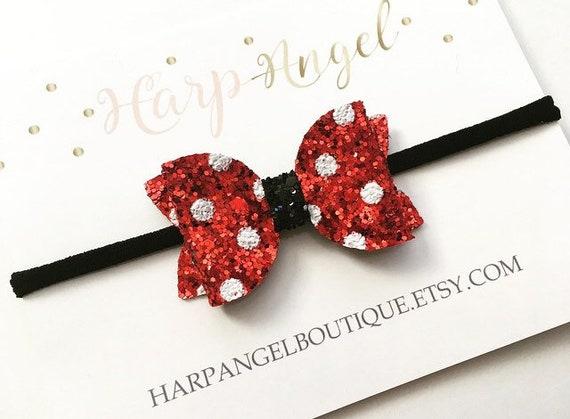 Red /& White Polka Dot Glitter Bow Headband Baby  Girls  Toddler  Adult Minnie Mouse Bow  Minnie Headband Disneyland