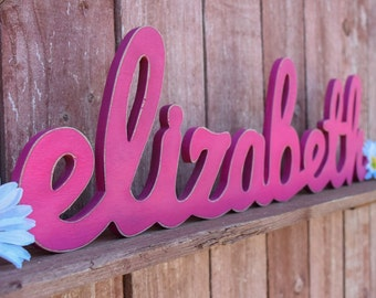 Wood Nursery Letters, Name Sign - Elizabeth - Nursery, Home Decor, Baby name sign