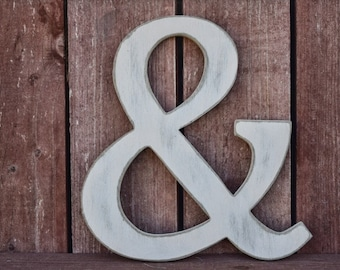 Rustic Ampersand - Home Decor, Shabby Chic, Cottage, Distressed - Wooden Ampersands