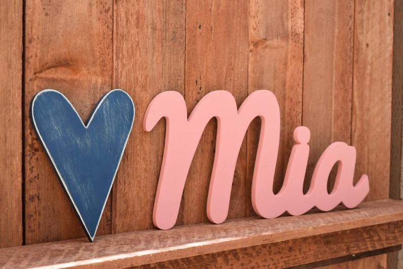 Mia Wooden baby name sign nursery wall art rustic nursery ...