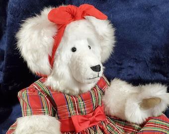 White Teddy Bear, Jointed Teddy Bear, Stuffed Teddy Bear, Dressed Teddy Bear, Radio Flyer, OOAK Teddy Bear, XMas Bear