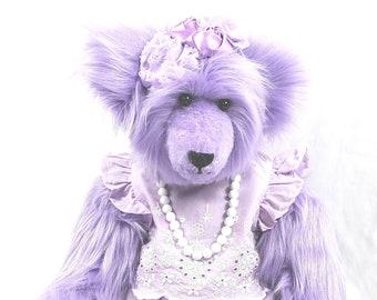 Purple Teddy Bear, Jointed Teddy Bear, Stuffed Teddy Bear, Dressed Teddy Bear, Personalized Teddy Bear, OOAK Teddy Bear