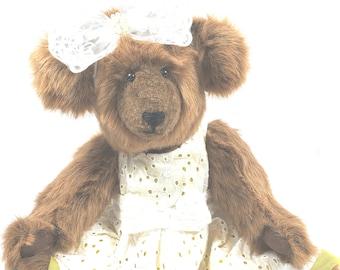 Handmade Teddy Bear, Jointed Teddy Bear, Stuffed Teddy Bear, Dressed Teddy Bear, Artist Teddy Bear, OOAK Teddy Bear, Sunshine Teddy Bear