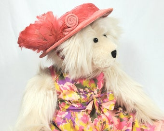 Handmade Teddy Bear, BeigeTeddy Bear, Stuffed Teddy Bear, Dressed Teddy Bear, Artist Teddy Bear, OOAK Teddy Bear, Sunshine Teddy Bear