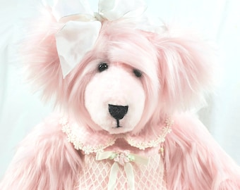 Handmade Teddy Bear, Pink Teddy Bear, Stuffed Teddy Bear, Dressed Teddy Bear, Artist Teddy Bear, OOAK Teddy Bear, Sunshine Teddy Bear