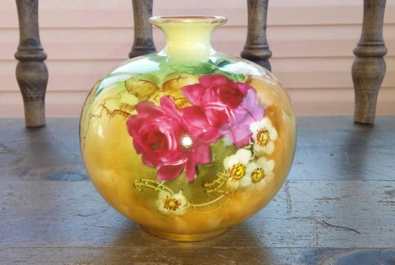Belleek Willet Hand Painted Floral Ball Vase Etsy