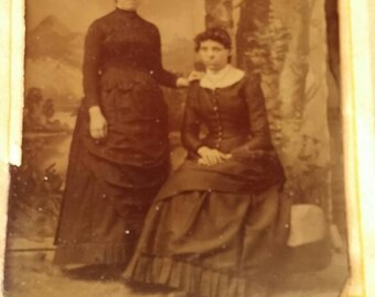 Tintype two Women Standing and Sitting by Trees with Mountains and River in Background