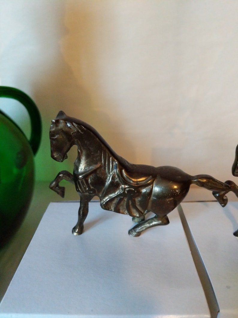 Made in Taiwan Vintage Set of 3 Brass Miniature War Horse Figurines Large Medium and Small