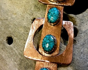 Copper and Inlaid Turquoise Pendant