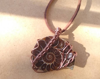 Ammonite wire wrapped necklace