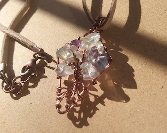 Flourite tree of life necklace